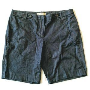 Loft Chambray Shorts 12 Dress Casual Dark Blue L